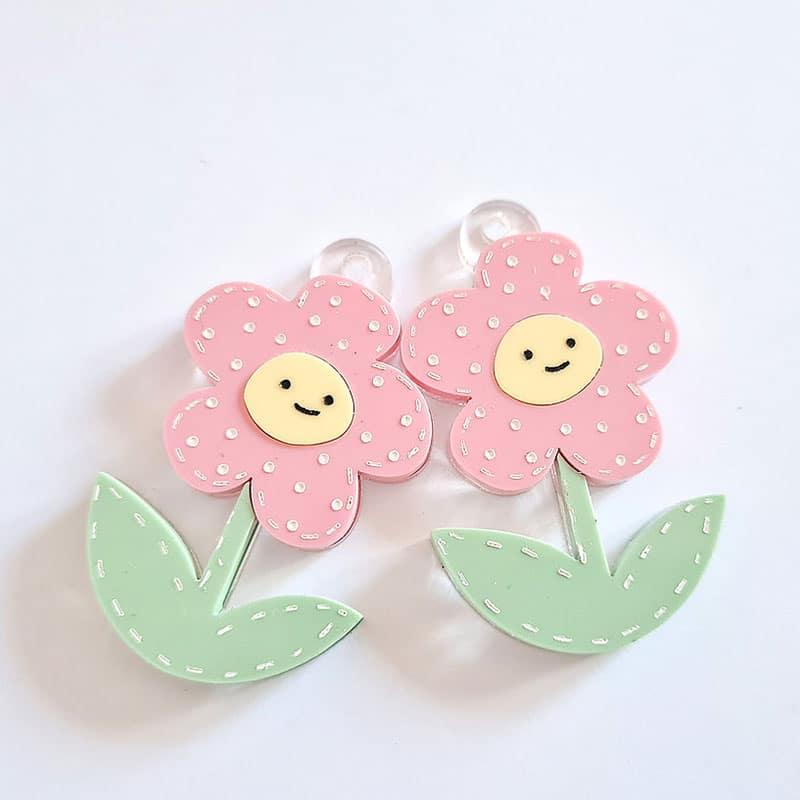 Flores de metacrilato rosa de mandarina&lima