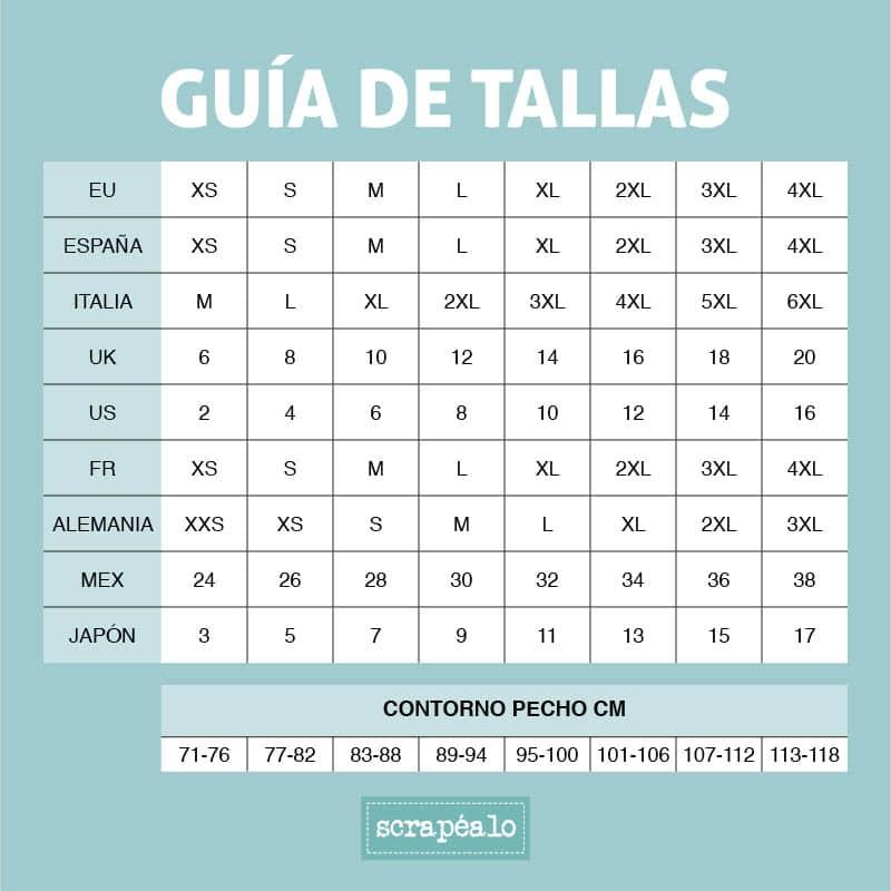 Guía de tallas camiseta Mega Kit Scrapéalo