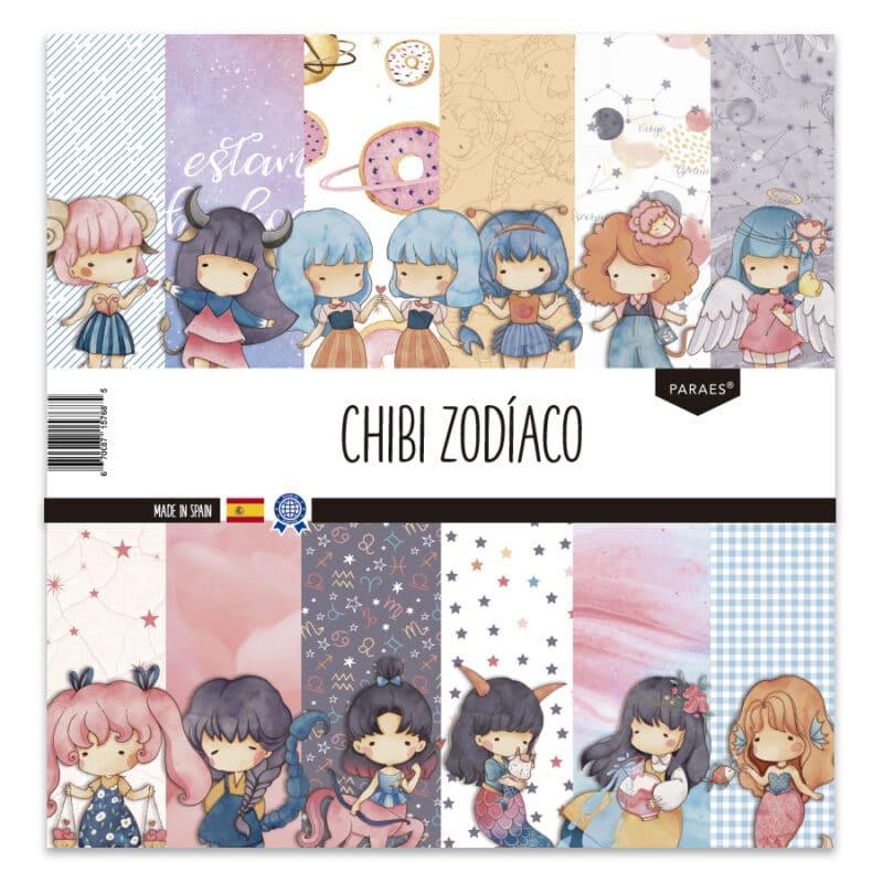 «Chibi - Zodiaco» colección de 14 papeles para scrapbooking.