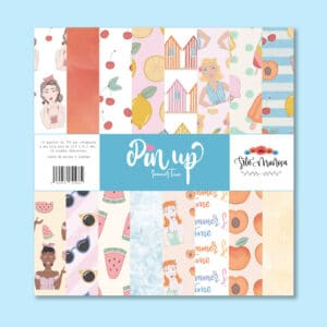 Stack de 16 papeles para scrapbookin colección «Pin up» Srta. Mañosa