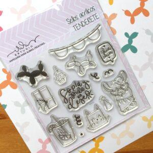 """Set de sellos acrílicos de 10x10 cms. colección """"Tenderete"""""""