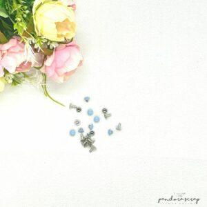 Remaches de presión en color azul pastel de Pandora Scrap